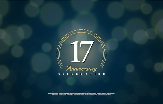 Celebrazione del 17 ° anniversario con numeri con cerchi dorati su sfondo blu scuro.