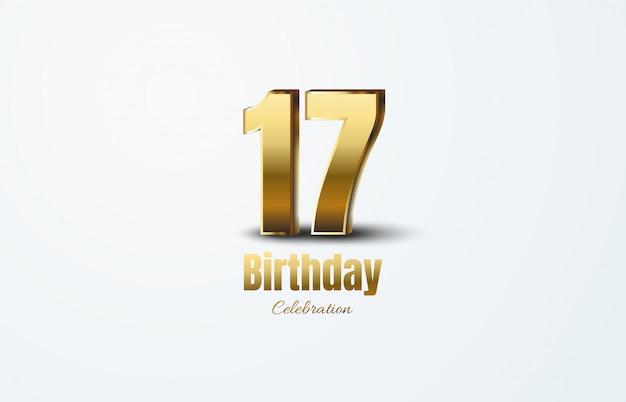 Celebrazione del 17 ° anniversario con numeri d'oro 3d su sfondo bianco.