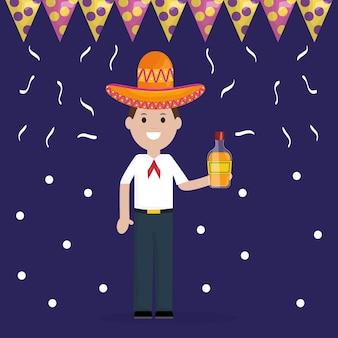 Celebrazione del 5 maggio con bottiglia di tequila e uomo