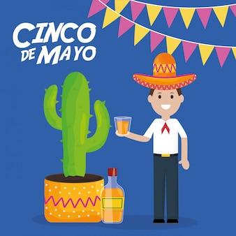 Celebrazione del 5 maggio con uomo e pianta di cactus