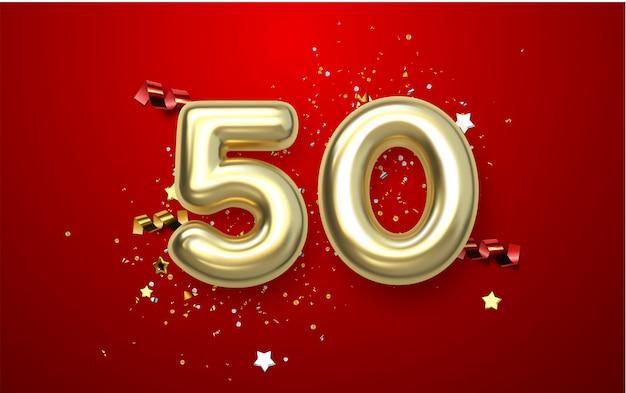 Celebrazione del 50 ° anniversario. numero aureo 50 con coriandoli scintillanti, stelle, luccichii e nastri streamer. illustrazione festiva. segno 3d realistico