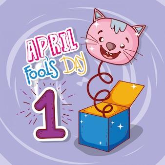 Celebrazione del giorno degli sciocchi di aprile con la scatola di gatto