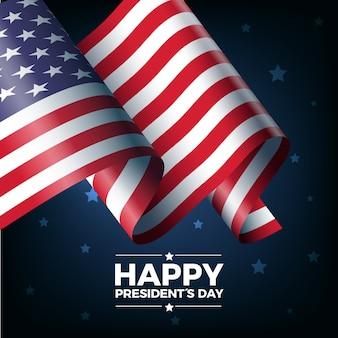 Celebrazione del giorno dei presidenti con bandiera realistica