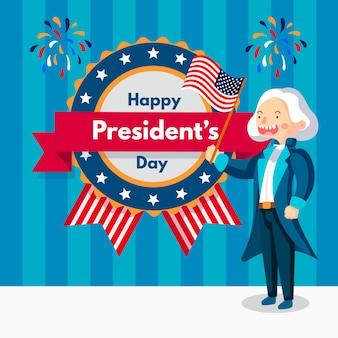 Celebrazione del giorno dei presidenti di design piatto
