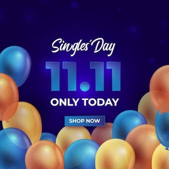 Celebrazione del giorno dei single di palloncini colorati