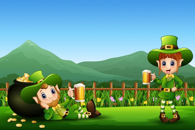 Celebrazione del giorno di san patrizio felice con il leprechaun