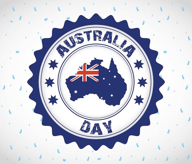 Celebrazione del giorno in australia con mappa in sigillo
