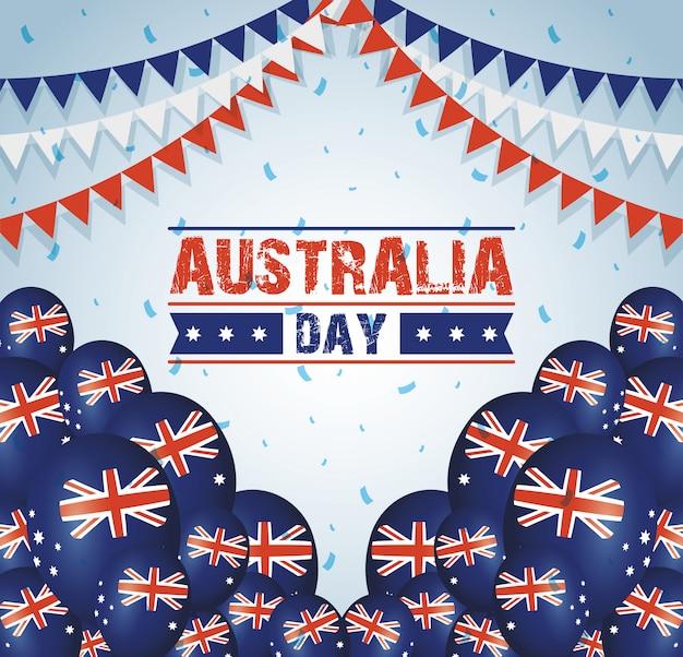 Celebrazione del giorno in australia con palloncini bandiere elio