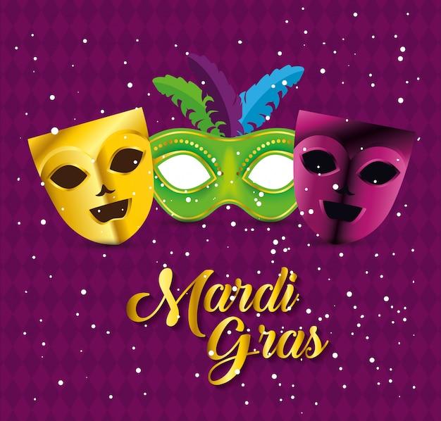 Celebrazione del martedì grasso con maschere da festa