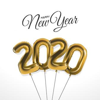 Celebrazione del nuovo anno 2020 con palloncini in lamina d'oro numerali su bianco
