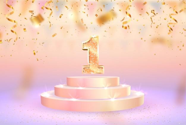 Celebrazione del primo anniversario. numero uno sul banner web piedistallo.