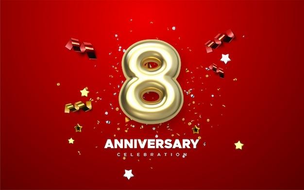 Celebrazione dell'8 ° anniversario. numeri dorati con coriandoli scintillanti, stelle, luccichii e nastri streamer. illustrazione festiva. segno 3d realistico. decorazione di eventi per feste