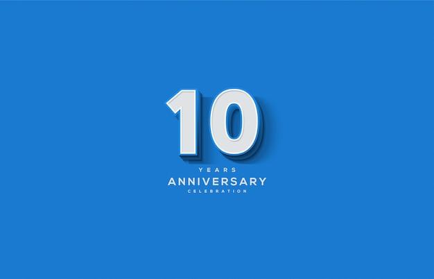 Celebrazione dell'anniversario con numeri bianchi dentro.