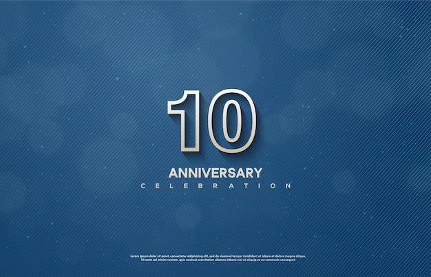 Celebrazione dell'anniversario con sottili numeri bianchi.