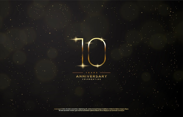 Celebrazione dell'anniversario con un numero d'oro sottile.