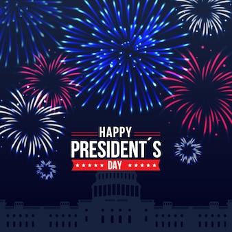 Celebrazione dell'evento del giorno dei presidenti con il design dei fuochi d'artificio