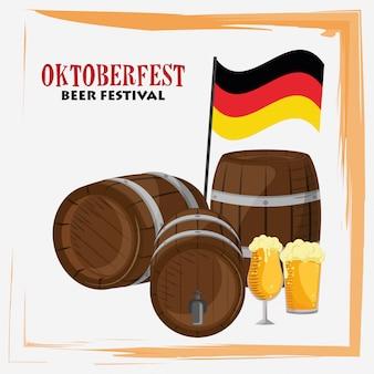 Celebrazione dell'oktoberfest con botti di birra