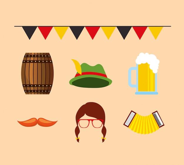 Celebrazione dell'oktoberfest con set di icone