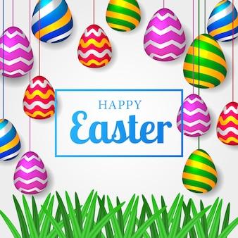 Celebrazione della festa dell'uovo di pasqua con l'uovo variopinto realistico 3d