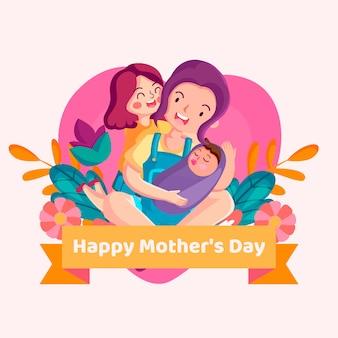 Celebrazione della festa della mamma illustrata
