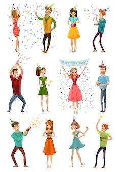 Celebrazione della festa di compleanno set di persone divertenti