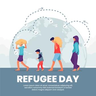 Celebrazione della giornata mondiale del rifugiato in stile piatto