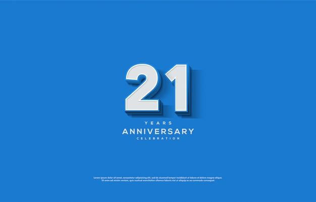 Celebrazione di anniversario con numero bianco e linea blu sul numero.