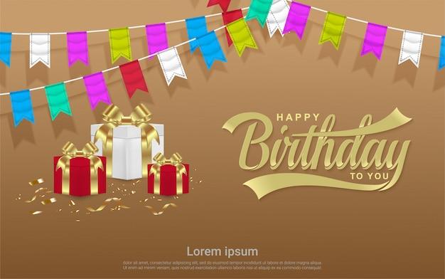 Celebrazione di buon compleanno con confezione regalo e sfondo bandiera colorata