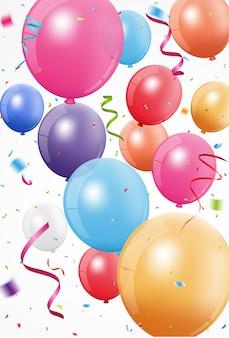 Celebrazione di buon compleanno con palloncino colorato e coriandoli
