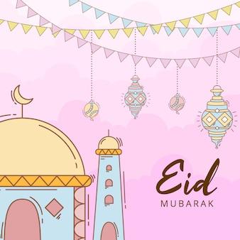 Celebrazione di eid mubarak disegnata a mano variopinta