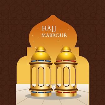 Celebrazione di hajj mabrour con lanterne dorate