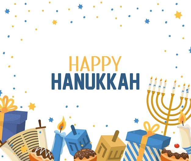 Celebrazione di hanukkah con decorazione di regali e candele