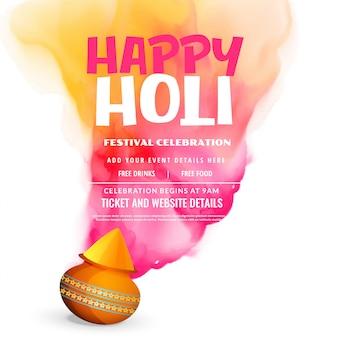 Celebrazione di holi festival felice saluto poster design