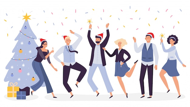 Celebrazione di natale in ufficio. il partito corporativo dei lavoratori felici del gruppo di affari, celebra il nuovo anno nell'illustrazione dei cappelli di natale