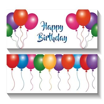 Celebrazione di palloncini di invito banner di buon compleanno