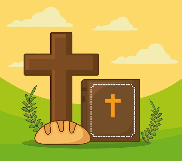 Celebrazione di pasqua con croce cristiana e bibbia con icona di pane