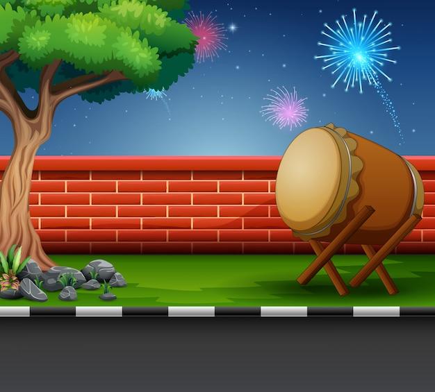 Celebrazione di ramadan kareem con fuochi d'artificio nel cielo