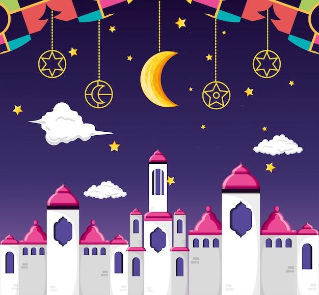 Celebrazione di ramadan kareen con la moschea