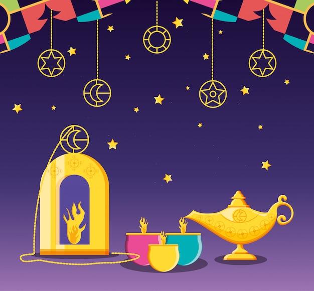 Celebrazione di ramadan kareen con le candele