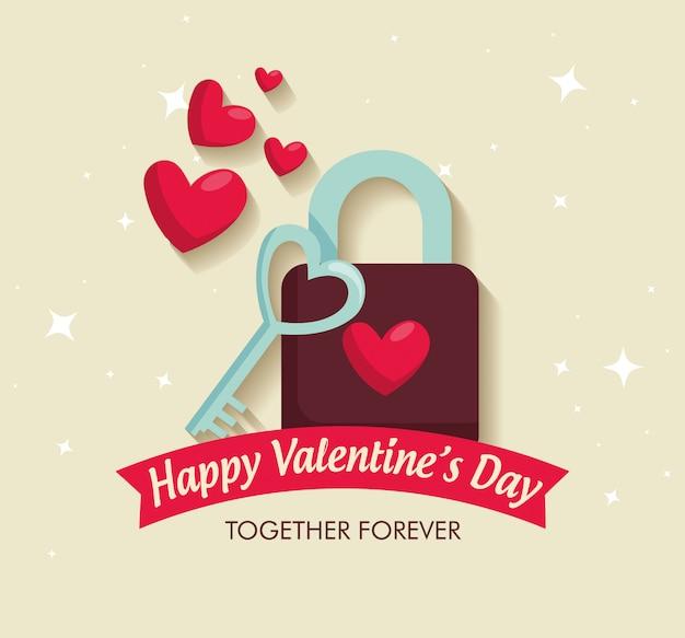 Celebrazione di san valentino con lucchetto e chiave con cuori