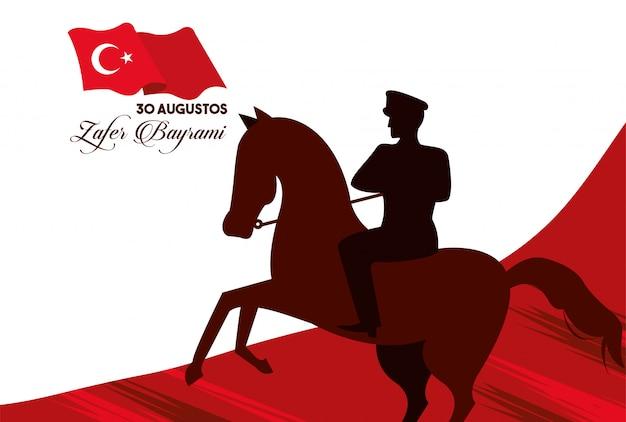 Celebrazione di zafer bayrami con il soldato nel disegno dell'illustrazione di vettore della bandiera e del cavallo