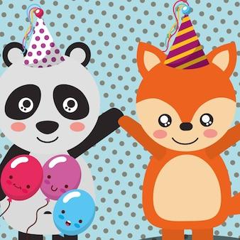 Celebrazione divertente di palloncini carino panda e volpe
