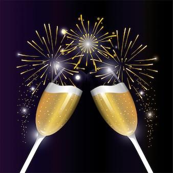 Celebrazione esplosione firewrok con bicchiere di champagne