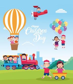 Celebrazione felice del giorno dei bambini con i bambini che giocano con i giocattoli