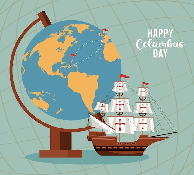 Celebrazione felice del giorno di colombo con barca a vela e mappa del mondo