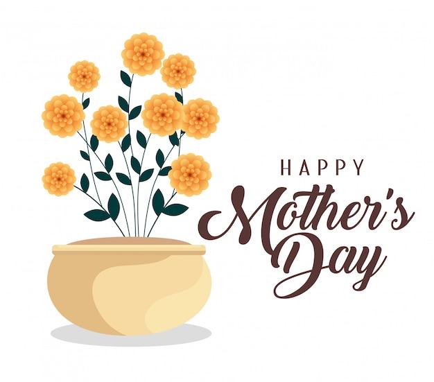 Celebrazione felice di festa della mamma con le piante di fiori