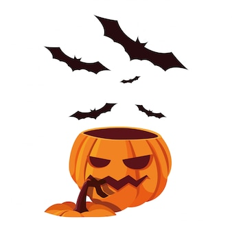 Celebrazione felice di halloween dei pipistrelli di zucca