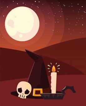 Celebrazione felice di halloween della candela del cranio del cappello della strega