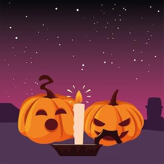 Celebrazione felice di halloween delle candele e delle zucche