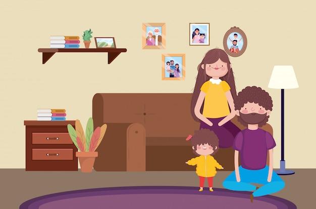 Celebrazione felice di ringraziamento del salone di seduta del figlio e dei genitori